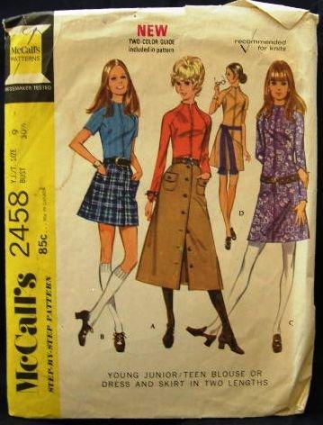 Vintage 70's McCalls Sewing Pattern 2458 Junior Teen Long Short Dress Skirt Blouse Size 9 CUT