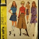 Vintage 70's McCalls Sewing Pattern 2458 Junior Teen Long Short Dress Skirt Blouse Size 9 CUT