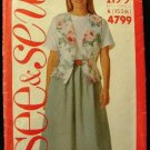 Vintage 90's See and Sew Butterick Sewing Pattern 4799 Vest Top Skirt Size 6 - 14 CUT