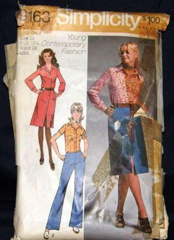 Vintage 1970's Simplicity Sewing Pattern 9163 Hip Hugger Pants Skirt Blouse Size 10 CUT