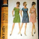 Vintage 60's McCalls Sewing Pattern 9265 Sleeveless or Short Sleeve Dress Square Neck Size 14 UNCUT
