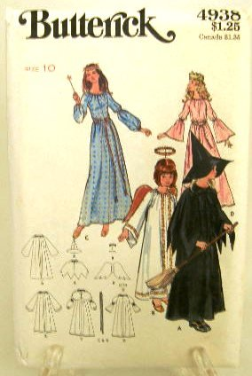 70's Butterick Costume Sewing Pattern 4938 Princess Fairy Angel Witch Misses Size 10 UNCUT