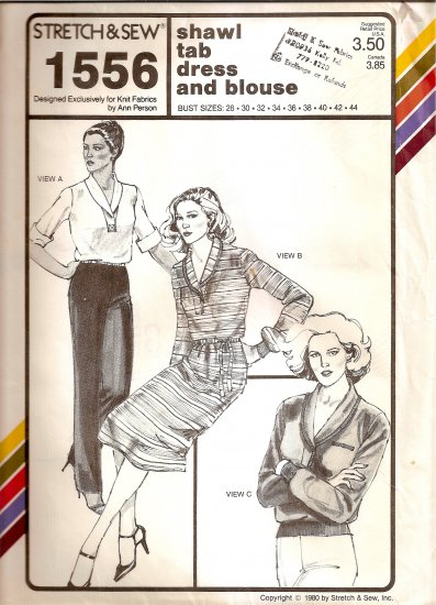 1980 Stretch and Sew Sewing Pattern 1556 Shawl Tab Dress and Blouse Size 28 30 32 34 36 38 40 42 44