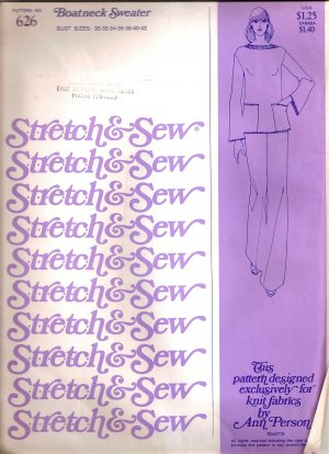 1976 Stretch and Sew Sewing Pattern 626 Boat Neck Boatneck Sweater Size 30 32 34 36 38 40 42