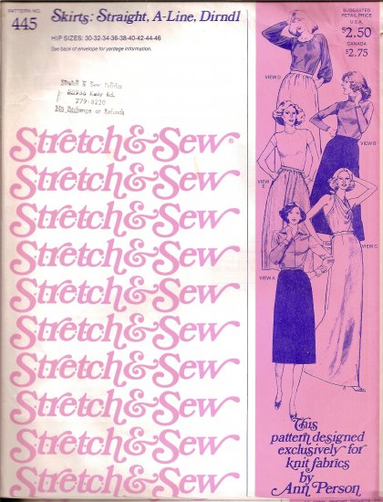 Stretch and Sew Sewing Pattern 445 Straight and A Line Skirt Hip Size 30 32 34 36 38 40 42 44 46