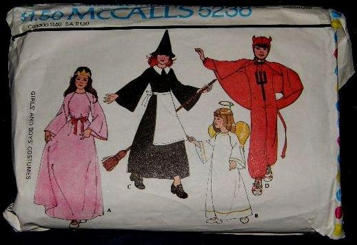 70's McCalls Costume Sewing Pattern 5238 Princess Witch Devil Angel Girls or Boys Size Medium CUT