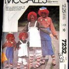 80's McCalls Costume Sewing Pattern 7232 Raggedy Ann and Andy Mens or Womans Size Medium CUT