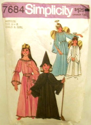 1970's Simplicity Costume Sewing Pattern 7684 Witch Angel Princess Fairy Childs Size 6 - 8 UNCUT