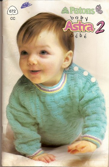 Patons Knitting Pattern Booklet 672 Baby Astra 2 Sweater Booties Sleeper Size 3 - 24 Months A1014