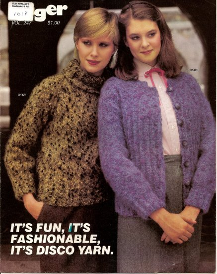 Unger Knitting Pattern Leaflet 247 Disco Yarn Sweater Sweaters 4 Styles A1018