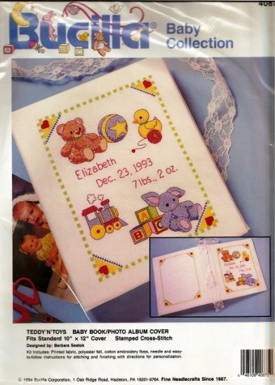 Bucilla Cross Stitch Kit Baby Book Cover Teddy N Toys in Sealed Package