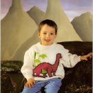 Robin Knitting Pattern Leaflet #15319 Childrens Dinosaur Pullover Sweater A1053