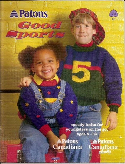 Patons Knitting Pattern Booklet 580 Hockey Baseball Football Sweaters for Children 4 - 12  A1042