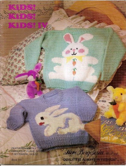 Lane Borgosesia Knitting Pattern Booklet 147 Kids IV Sweater 14 Childrens Small Medium Large A1051