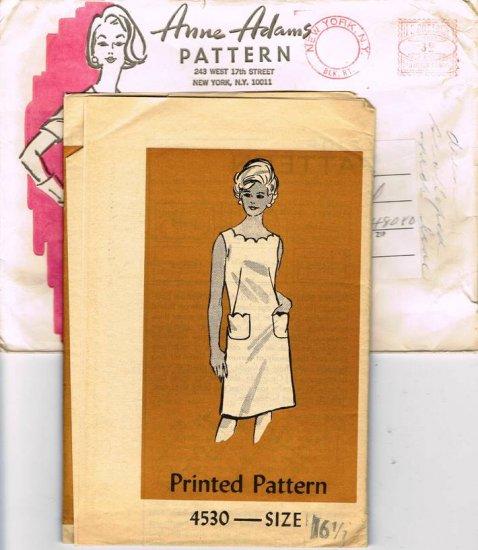 60's Mail Order Sewing Pattern Anne Adams 4530 Sleeveless Dress Scalloped Neckline Size 16 1/2 UNCUT