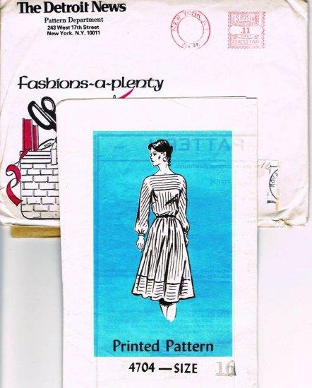 Vintage 1960's Mail Order Sewing Pattern Fashions A Plenty Detroit News 4704 Dress Size 16 CUT MO101