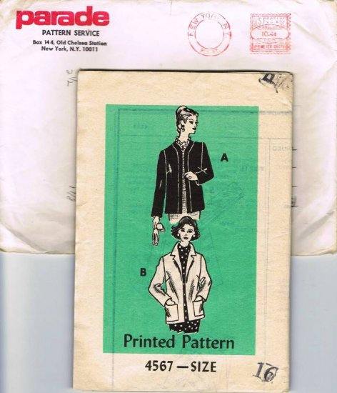 Vintage 1960's Mail Order Sewing Parade Pattern Service 4567 Jacket in 2 Styles Size 16 UNCUT MO104