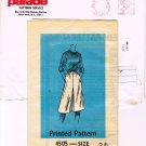 1960's Mail Order Sewing Parade Pattern Service 4505 Elastic Waist Culotte Goucho Size 34 CUT