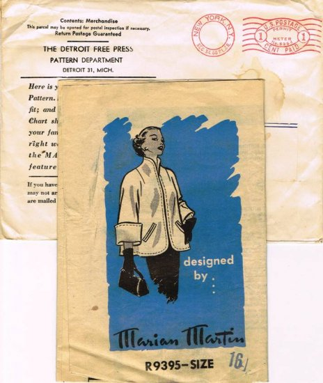 Vintage 40's Mail Order Sewing Pattern Marian Martin R 9395 Coat Jacket Size 16 UNCUT MO106