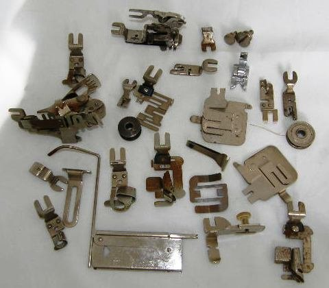 Vintage Greist Sewing Machine Attachments Assorted Binder Hemmer Ruffler Foot 26 pcs total #110