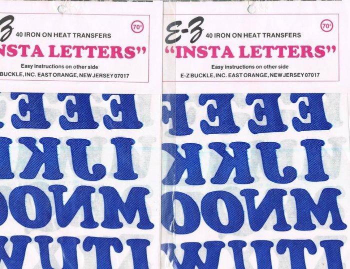 E-Z Insta Letters Iron On Heat Transfers Dark Blue 40 per pack 2 UNOPENED packages
