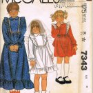 80's McCalls Sewing Pattern 7343 Long or Short Communion Dress with Ruffles Girls size 6 UNCUT