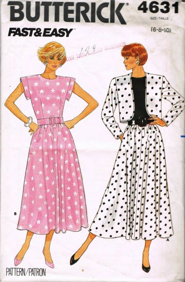 80's Butterick Sewing Pattern 4631 Fast & Easy Cap Sleeve Flared Dress Jacket Size 6 8 10 UNCUT