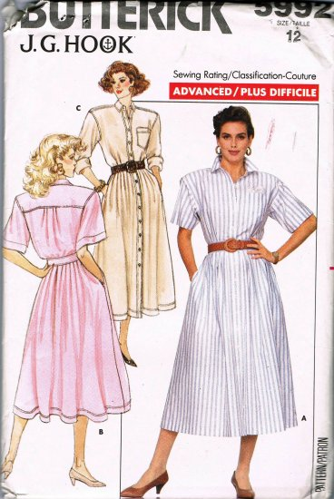 Butterick Sewing Pattern 5992 JG Hook Button Front Long or Short Sleeve Shirt Dress Size 12 UNCUT