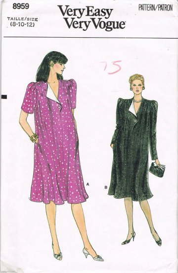 80's Very Easy Vogue Sewing Pattern 8959 Maternity Dress Long Short Sleeve Size 8 10 12 UNCUT