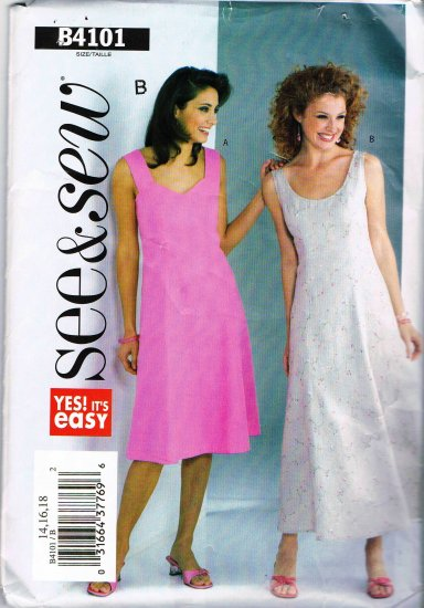 Butterick See and Sew Sewing Pattern B4101 Sleeveless Long or Short Tank Dress Size 14 16 18 UNCUT