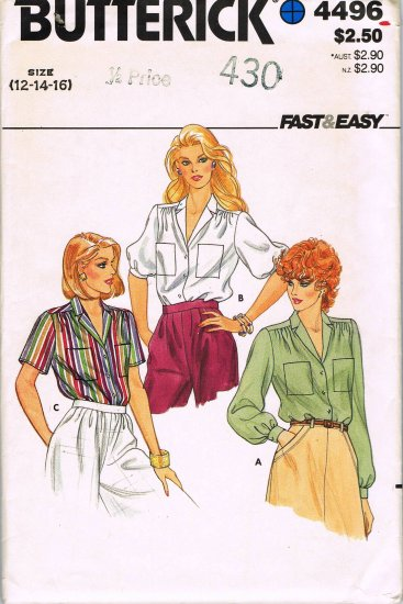 80's Butterick Fast and Easy Sewing Pattern 4496 Long or Short Sleev Blouse Size 12 14 16 UNCUT