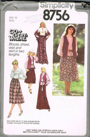 70's Simplicity Go Everywhere Sewing Pattern 8756 Blouse Shawl Vest Skirt Size 12 UNCUT