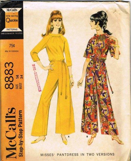 Vintage 1960's McCalls Sewing Pattern 8883 Raglan Sleeve Pantdress with Belt Size 14 UNCUT