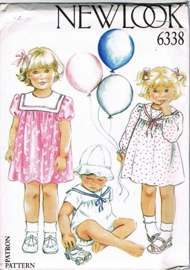 Simplicity New Look Sewing Pattern 6338 Infant Baby Girls Dress Romper Size 3 - 24 Months UNCUT