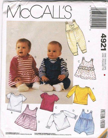McCalls Sewing Pattern 4921 Kids Dress Crawler Romper Shirt Jumper Newborn - Large UNCUT