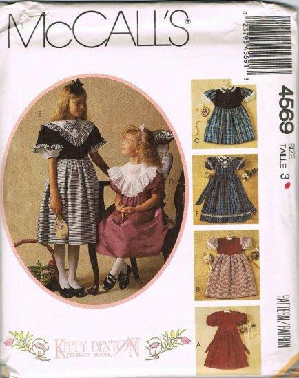 McCalls Kitty Benton Sewing Pattern 4569 Girls Fancy Long Short Dress Size 3 UNCUT