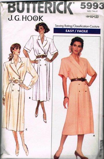 80's Butterick J G Hook Easy Sewing Pattern 5993 Coat Dress Long Short Sleeve Size 8 10 12 CUT