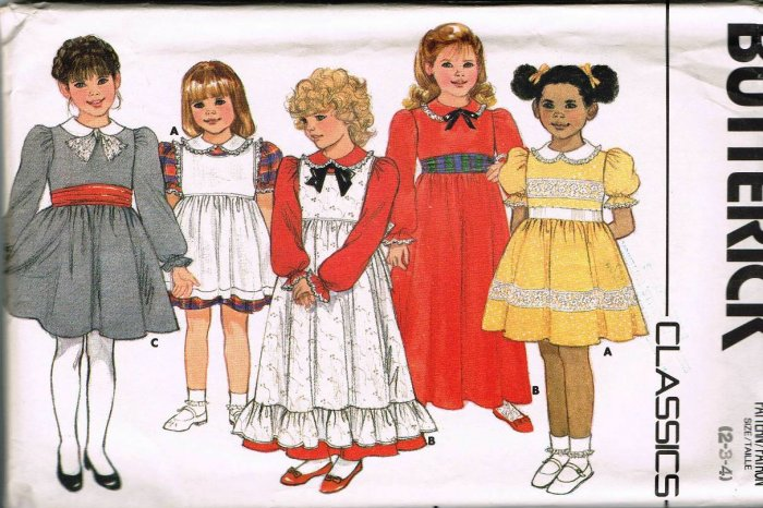 80's Butterick Classics Sewing Pattern 3442 Girls Long Short Pinafore Dress Size 2 3 4 CUT