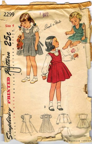 Vintage 1940's Simplicity Easy to Make Sewing Pattern 2299 Girls Sun Dress Jumper Blouse Size 4 CUT