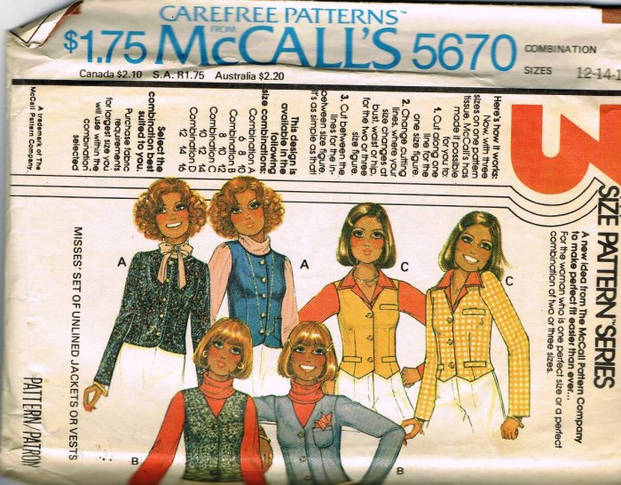 70's McCalls Carefree Sewing Pattern 5670 Misses Jacket Vest Size 12 14 16 CUT