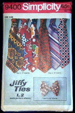 1970's Vintage Simplicity Sewing Pattern 9400 Jiffy Mens Neck or Bow Tie Ties 3 styles CUT