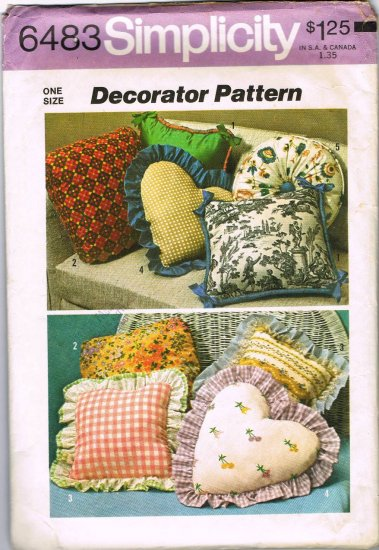 70's Simplicity Decorator Sewing Pattern 6483 Pillow Pillows and Covers Heart Square Round CUT