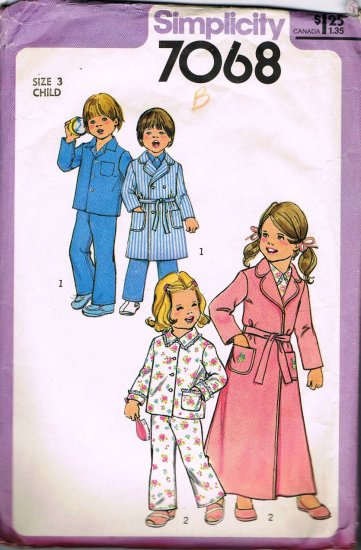 Vintage 70's Simplicity Sewing Pattern 7068 Girls or Boys Unisex Robe Pajamas PJ's Size 3 CUT