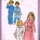 Vintage 70's Simplicity Sewing Pattern 7068 Girls or Boys Unisex Robe Pajamas PJ's Size 3 CUT