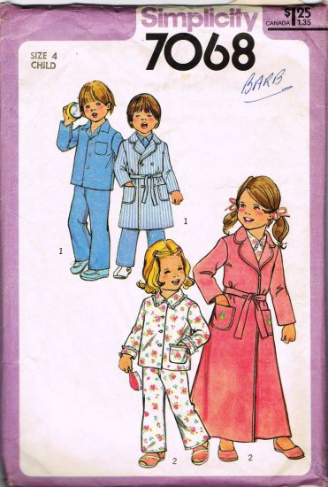 Vintage 70's Simplicity Sewing Pattern 7068 Unisex Girls or Boys Robe Pajamas PJ's Size 4 CUT