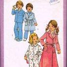 Vintage 70's Simplicity Sewing Pattern 7068 Unisex Girls or Boys Robe Pajamas PJ's Size 4 CUT
