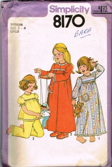 70's Simplicity Sewing Pattern 8170 Girls Button Robe Pajamas PJ's Nightgown Size Medium 3 - 4 CUT