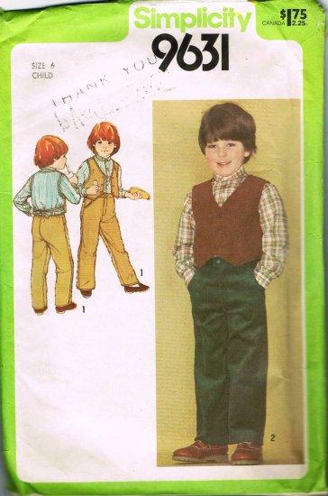Vintage 80's Simplicity Sewing Pattern 9631 Boys Shirt Button Front Vest Pants Size 6 CUT