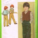 Vintage 80's Simplicity Sewing Pattern 9631 Boys Shirt Button Front Vest Pants Size 6 CUT