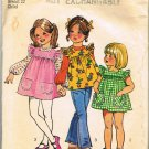 70's Simplicity Sewing Pattern 5479 Girls Smock Blouse Tunic Jumper Dress Size 3 CUT